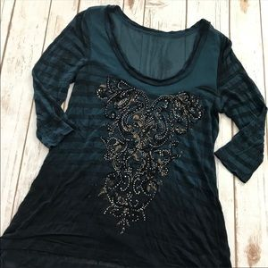 Miss Me - Gorgeous Sheer Embellished Top, Small